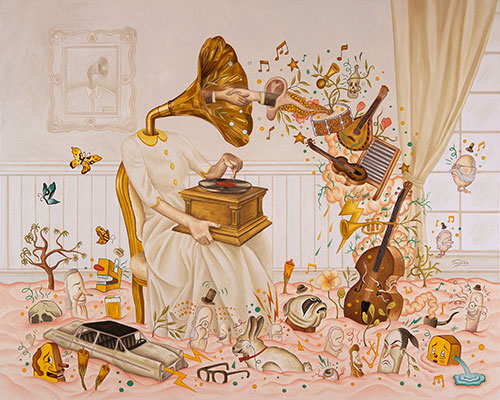 Rafael Silveira | Disturbed by old time music, 2015 | Óleo sobre tela | 80 x 120 cm